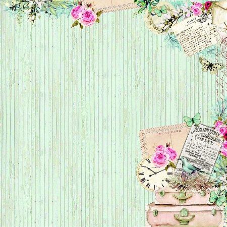 Papel scrapbook 30x30 Chegadas e Partidas - Linha Minhas Memórias - Dany Peres