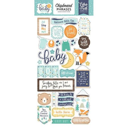 Chipboard Hello Baby Boy - Bebê Menino - Echo Park