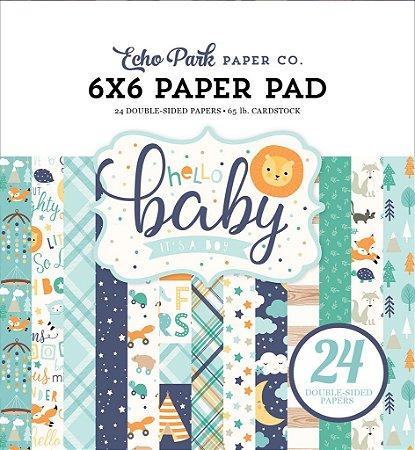 Bloco de papel scrapbook 15x15 Hello Baby Boy - Bebê Menino - Echo Park