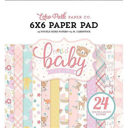 Bloco de papel scrapbook 15x15 Hello Baby Girl - Bebê Menina - Echo Park