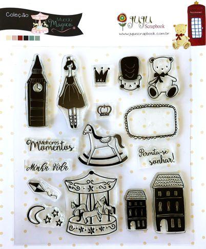 Cartela de carimbos Melhores Momentos - Coleção Mundo Mágico - Juju Scrapbook