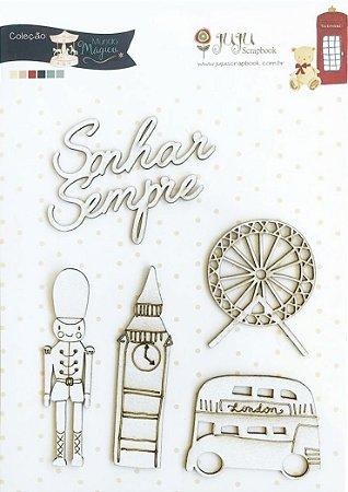 Cartela de Enfeites Sonhar Sempre - Coleção Mundo Mágico - Juju Scrapbook