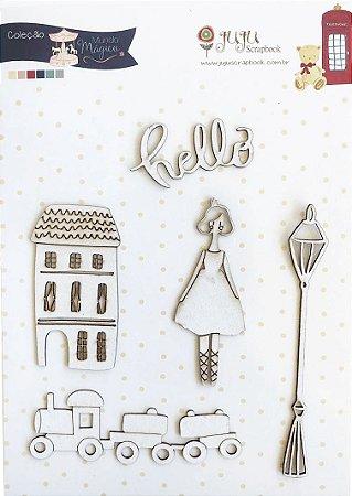 Cartela de Enfeites Hello - Coleção Mundo Mágico - Juju Scrapbook