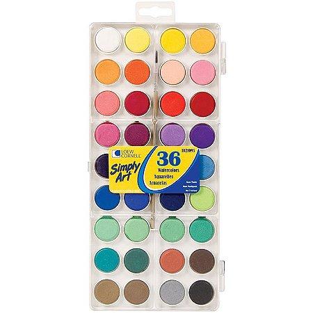 Kit de aquarelas com 36 cores -Simply Art - Loew Cornell