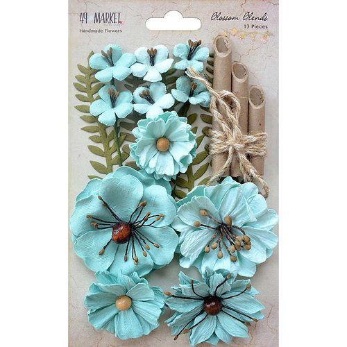 Flores de papel - Azul Claro - 13 peças - 49Market