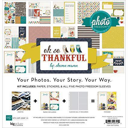 Kit de scrapbook 30x30 - Oh So Thankful - Folhas de scrapbook + Plásticos + Adesivo - Echo Park