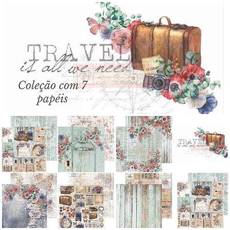 Kit com 07 papeis para scrapbook - Dupla Face - Travel is all we need - Carina Sartor