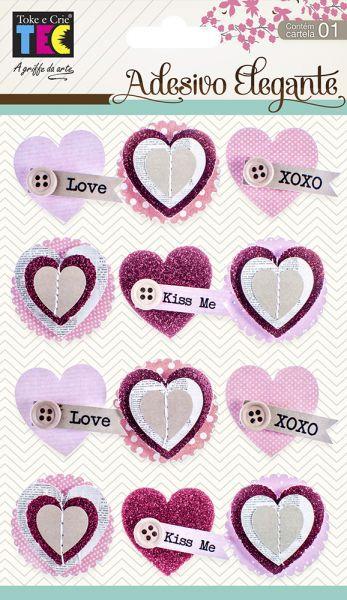 Adesivo Elegante Corações -Amor -  TEC
