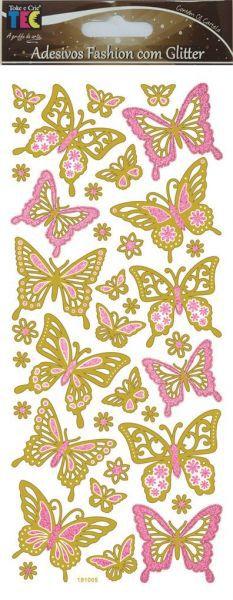 Adesivo Fashion com Glitter - Borboletas - TEC