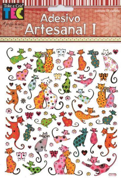 Adesivo Artesanal 1 - Gatos Coloridos - TEC