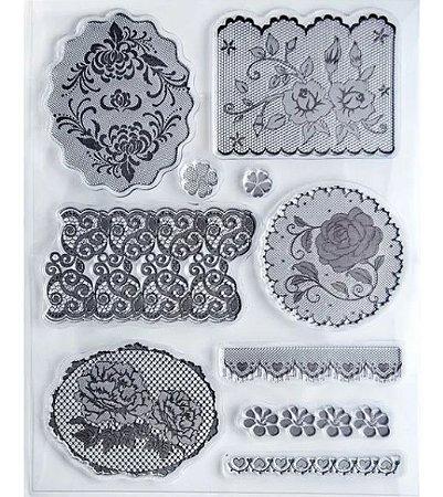 Cartela de Carimbos de silicone II - Coleção Vintage - Rendas