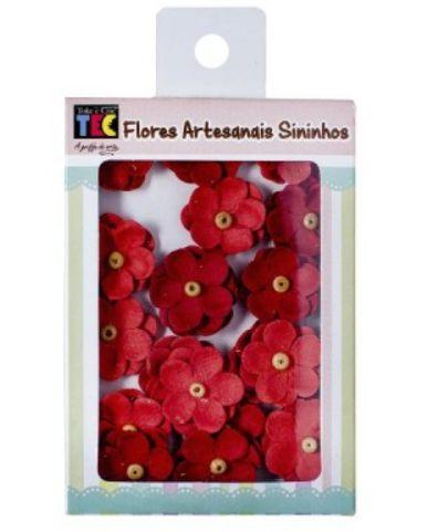 Flores artesanais Sininhos - Algodão Doce - Vermelho  - Toke e Crie