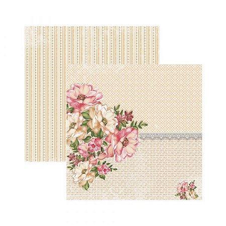 Papel para scrapbook - 30x30 - Dupla Face - Floral Clássicos Flores e Rendas - TEC