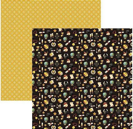 Papel para scrapbook - 30x30 - Dupla Face - Formatura Símbolos - TEC