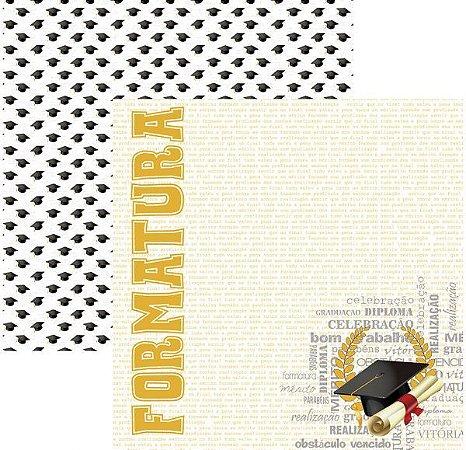 Papel para scrapbook - 30x30 - Dupla Face - Formatura Capelo -  TEC