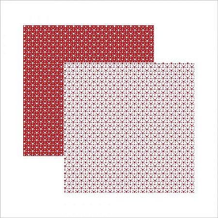 Papel para scrapbook - 30x30 - Dupla Face - Vermelho FB Estrela - Amor - TEC