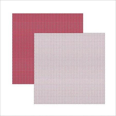 Papel para scrapbook - 30x30 - Dupla Face - Vermelho  FB Poá - Amor - TEC
