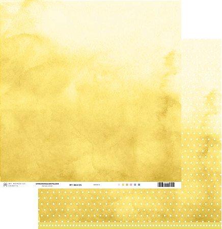 Papel scrapbook 30x30 My Basics - Amarelo - My Memories Crafts