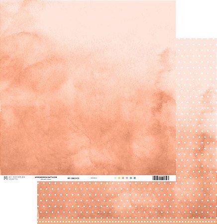 Papel scrapbook 30x30 My Basics - Laranja/Coral - My Memories Crafts
