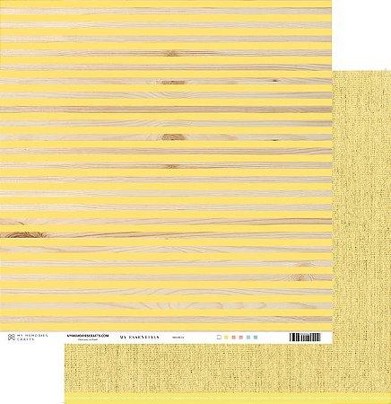 Papel scrapbook 30x30 My Essentials - Listras com Amarelo - My Memories Crafts