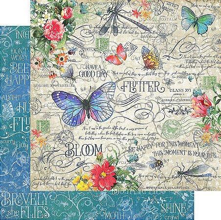 Papel para scrapbook - 30x30 - Dupla Face - Flutter Collection - Flutter - Graphic 45