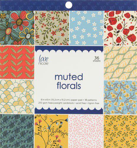 Bloco de papéis 15x15 Muted Florals - Love Nicole