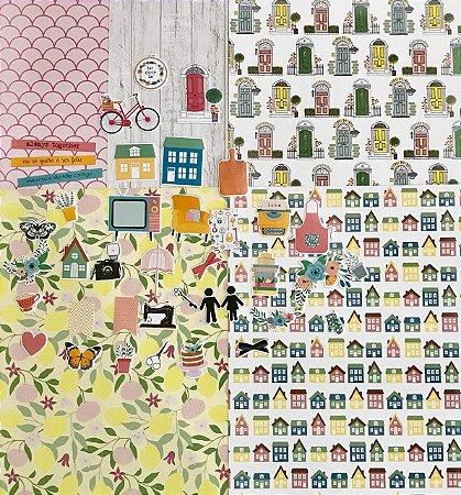 Kit com folhas e die cuts - Felizes para sempre - Studio Baunilha