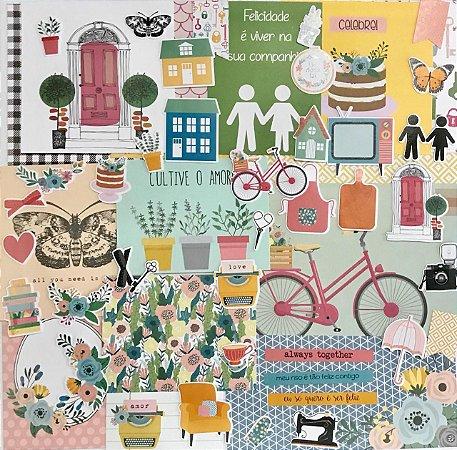 Kit com cards e die cuts - Felizes para sempre - Studio Baunilha