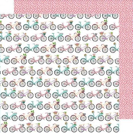 Papel para scrapbook - 30x30 - Dupla Face - Stay Sweet - Flower Baskets - Amy Tangerine