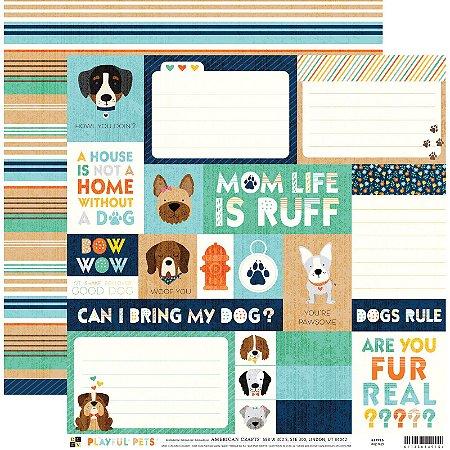 Papel para scrapbook 30x30 - Dupla Face - Dog Tags  - Playful Pets - DCWV