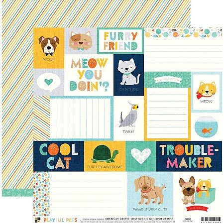 Papel para scrapbook 30x30 - Dupla Face - Cats and Dogs  - PlayFul Pets - DCWV