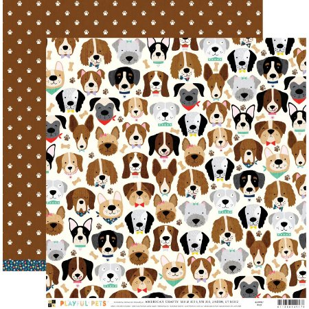 Papel para scrapbook 30x30 - Dupla Face - Dogs  - PlayFul Pets - DCWV