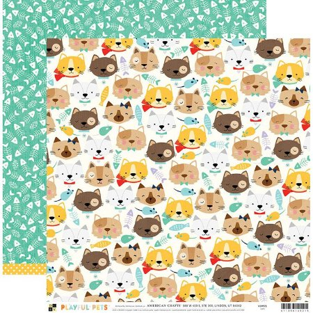 Papel para scrapbook 30x30 - Dupla Face - Cats - PlayFul Pets - DCWV