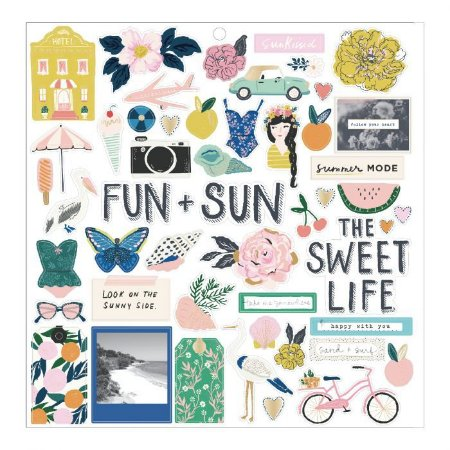 Adesivo em chipboard 30x30 - Sunny Days - Maggie Holmes - Crate Paper