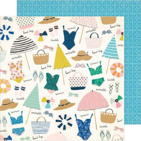 Papel para scrapbook - 30x30 - Dupla Face - Sunkissed - Sunny Days - Crate Paper