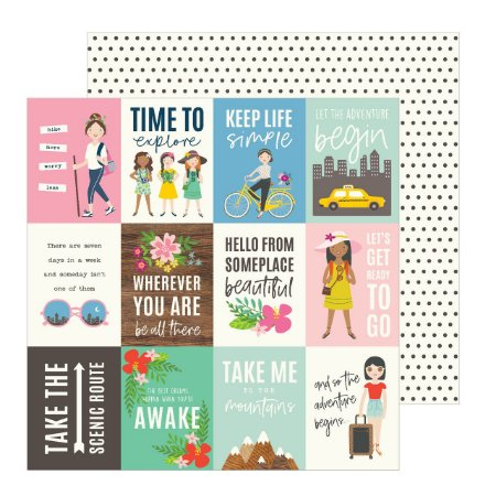 Papel para scrapbook - 30x30 - Dupla Face - Chasing Adventures - Adventure - Jen Hadfield - American Crafts