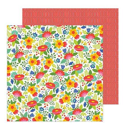 Papel para scrapbook - 30x30 - Dupla Face - Chasing Adventures - Fiesta Flowers - Jen Hadfield - American Crafts