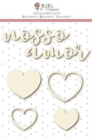 Cartela de enfeites em chipboard - Nosso Amor - Shabby Dreams - Juju Scrapbook