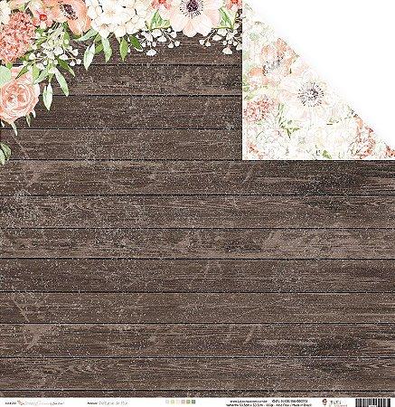 Papel para scrapbook -30x30 - Dupla Face - Perfume de Flor - Coleção Shabby Dreams - Juju Scrapbook