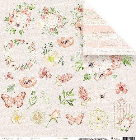 Papel para scrapbook -30x30 - Dupla Face - Primavera - Coleção Shabby Dreams - Juju Scrapbook