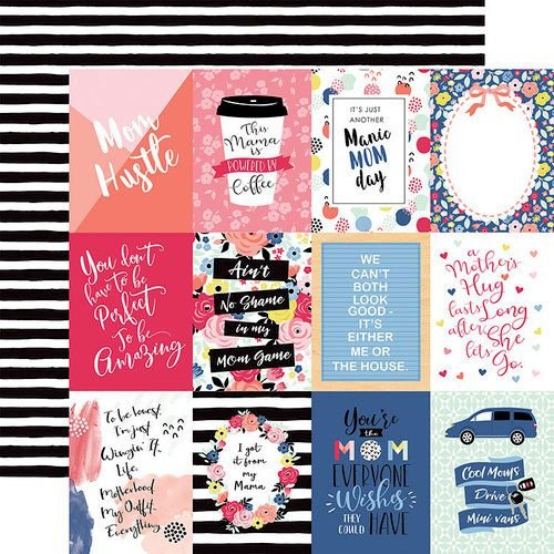 Papel Scrapbook - I am Mom Collection -  3 x 4 Journaling Cards - Echo Park