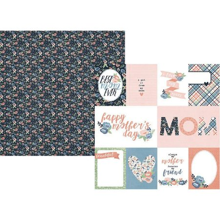 Papel Scrapbook - 30x30 - Moms Day Collection - 3 x 4 e 4 x 6 Elements - Simple Stories