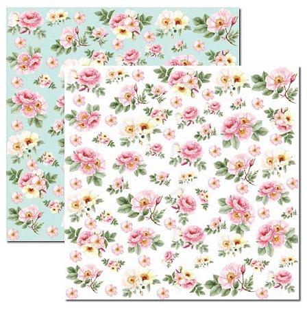 Papel scrapbook 30x30 Rose e Mint 1 - Arte Fácil