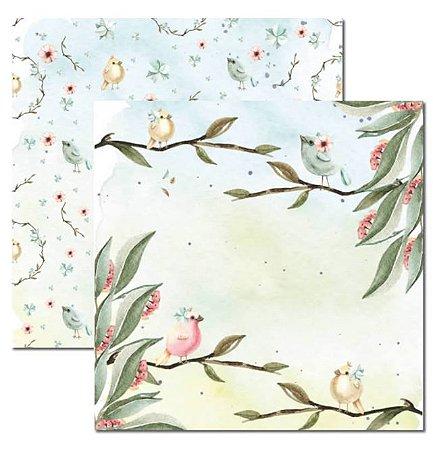 Papel scrapbook 30x30 Passarinhos 2 - Arte Fácil