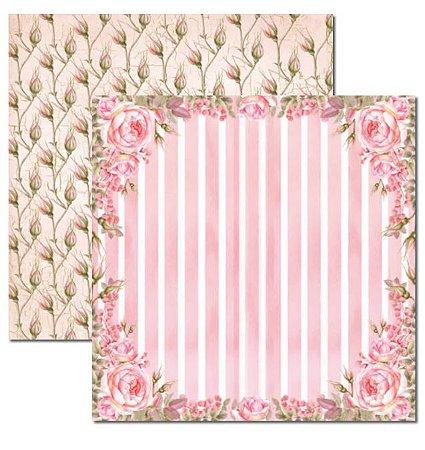 Papel scrapbook 30x30 Rose e Mint 4 - Arte Fácil