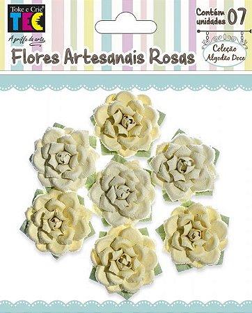 Flores artesanais Rosas - Algodão Doce - Amarela  - Toke e Crie