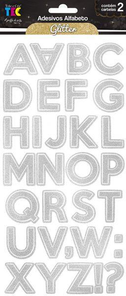 Adesivos Alfabeto Glitter - Prateado - TEC