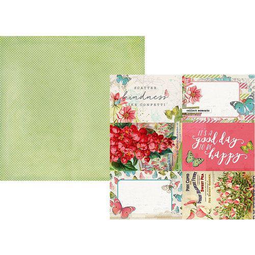 Papel para scrapbook 30x30 - Dupla Face - Simple Vintage Botanicals - 4x6 Elements - Simple Stories