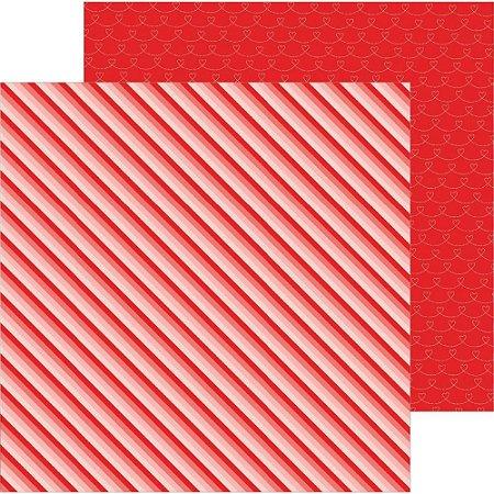 Papel scrapbook 30x30 Loves me - Ombre Stripes - Amor - Pebbles