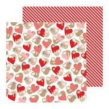 Papel scrapbook 30x30 Loves me - Huggably Yours  - Amor - Pebbles